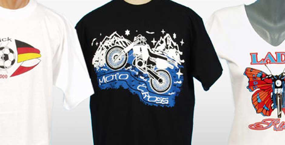 Textildruck auf T-Shirts, Siebdruck, Sublimationsdruck